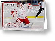 Dominic Hasek Greeting Card by Don Olea