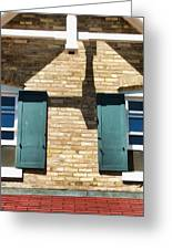 Door County Eagle Bluff Lighthouse Shutters Greeting Card by Christopher Arndt