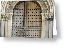 Door Greeting Card by Frank Tschakert