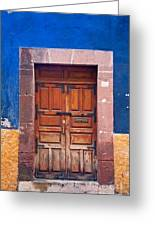 Door In Blue And Yellow Wall Greeting Card by Oscar Gutierrez