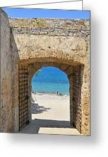 Door To Joy And Serenity - Beautiful Blue Water Is Waiting Greeting Card by Matthias Hauser