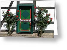 Door With Roses Greeting Card by Art Photography