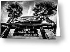 Dory Fishing Fleet Sign Picture In Newport Beach Greeting Card by Paul Velgos
