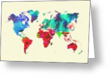 Dotted World Map 2 Greeting Card by Naxart Studio