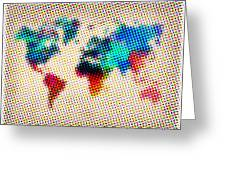 Dotted World Map Greeting Card by Naxart Studio