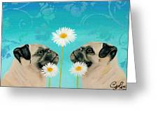 Double Pugs Greeting Card by Connie Lawrie