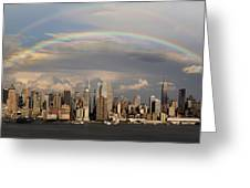 Double Rainbow Over Nyc Greeting Card by Susan Candelario