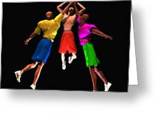 Double Teamed Greeting Card by Walter Oliver Neal