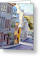 Down The Hill Old Quebec City Greeting Card by Richard T Pranke