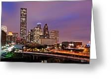 Downtown Houston Texas Skyline Beating Heart Of A Bustling City Greeting Card by Silvio Ligutti