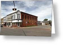 Downtown Montezuma Iowa Panorama Greeting Card by Gregory Dyer