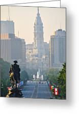 Downtown Philadelphia - Benjamin Franklin Parkway Greeting Card by Simon Wolter