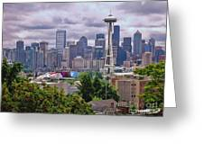 Downtown Seattle From Kerry Park Greeting Card by Allen Beatty