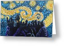 Dr Who Hogwarts Starry Night Greeting Card by Jera Sky
