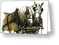 Draft Horses Greeting Card by Marie Downing