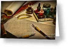 Draftsman - The Ship Builder  Greeting Card by Paul Ward