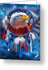 Dream Catcher - Eagle Red White Blue Greeting Card by Carol Cavalaris