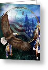 Dream Catcher - Freedom's Flight Greeting Card by Carol Cavalaris