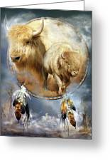 Dream Catcher - Spirit Of The White Buffalo Greeting Card by Carol Cavalaris