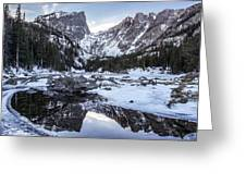 Dream Lake Reflection Greeting Card by Aaron Spong