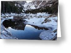 Dream Lake Reflection Square Format Greeting Card by Aaron Spong
