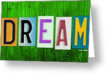 DREAM License Plate Letter Vintage Phrase Artwork on Green Greeting Card by Design Turnpike