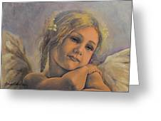 Dreamy Angel Greeting Card by Dorina  Costras