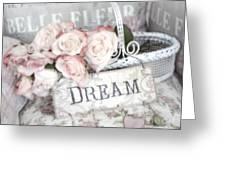 Dreamy Shabby Chic Romantic Cottage Chic Roses In White Basket  Greeting Card by Kathy Fornal