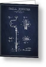 Drill Pounder Patent Drawing From 1922 Greeting Card by Aged Pixel