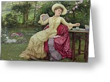 Drinking Coffee And Reading In The Garden Greeting Card by Edward Killingworth Johnson