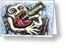 Drinking Red Wine Greeting Card by Nalidsa Sukprasert