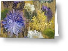 Drippy Bouquet with Gold Leaf by Vic Mastis Greeting Card by Vic  Mastis
