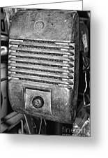 Drive In Movie Speaker In Black And White Greeting Card by Paul Ward