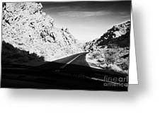 driving through canyons on the white domes road scenic drive valley of fire state park nevada usa Greeting Card by Joe Fox