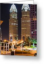 Dubai Business Towers Greeting Card by Zaharra Hemani