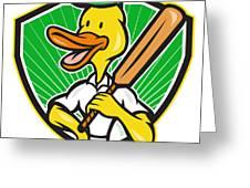 Duck Cricket Player Batsman Cartoon Greeting Card by Aloysius Patrimonio