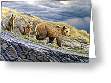 Dunraven Pass Grizzly Family Greeting Card by Paul Krapf