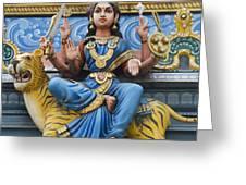 Durga Statue on Hindu Gopuram Greeting Card by Tim Gainey