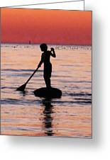 Dusk Float - Sunset Art Greeting Card by Sharon Cummings