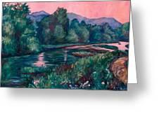 Dusk On The Little River Greeting Card by Kendall Kessler