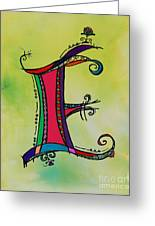 'e' Monogram Greeting Card by Joyce Auteri