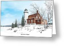 Eagle Harbor Lighthouse Titled Greeting Card by Darren Kopecky