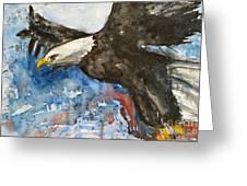 Eagle In Flight Greeting Card by Ismeta Gruenwald