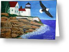 Eagle Isle Light In Casco Bay Maine Greeting Card by Bill Hubbard