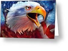 Eagle Red White Blue 2 Greeting Card by Carol Cavalaris