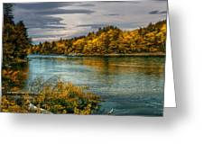 Early Autumn Along The Androscoggin River Greeting Card by Bob Orsillo