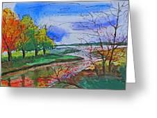 Early Autumn Landscape Greeting Card by Shakhenabat Kasana