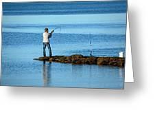 Early Morning Fishing Greeting Card by Karol  Livote