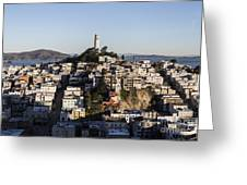 Early Morning Light On Telegraph Hill And Coit Tower Park In San Francisco Greeting Card by Trekkerimages Photography