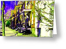 Early Spring Stroll City Streets With Spiral Staircases Art Of Montreal Street Scenes Carole Spandau Greeting Card by Carole Spandau